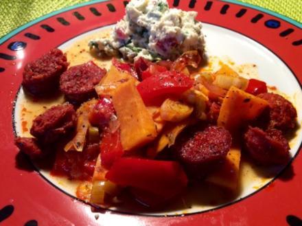 Chorizo-Süßkartoffel-Auflauf und ein Bärlauch-Frischkäse-Dip - Rezept