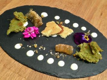 Kamillencreme auf Matcha-Tee-Biskuit und Matcha-Tee-Hippe - Rezept - Bild Nr. 77