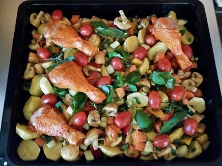 Hähnchenfleisch auf Ofengemüse mit Salbei und Basilikum - Rezept - Bild Nr. 53