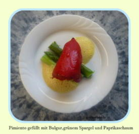 Tapa  Pimiento gefüllt mit Bulgursalat,auf grünem Spargel und Paprikaschaum - Rezept - Bild Nr. 24