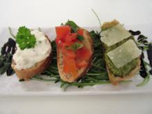 Bruschetta Variationen (Fetacreme, Basilikumpesto, Tomatenbruschetta) - Rezept - Bild Nr. 12
