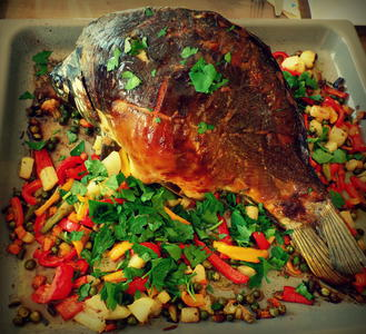 Fisch: Ganzer Karpfen aus dem Ofen mit Gemüse-Beilage - Rezept - Bild Nr. 10