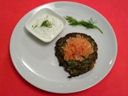 Zucchini-Kartoffel-Taler mit Lachs-Tatar, frischem Kräuterquark und Dill - Rezept - Bild Nr. 24