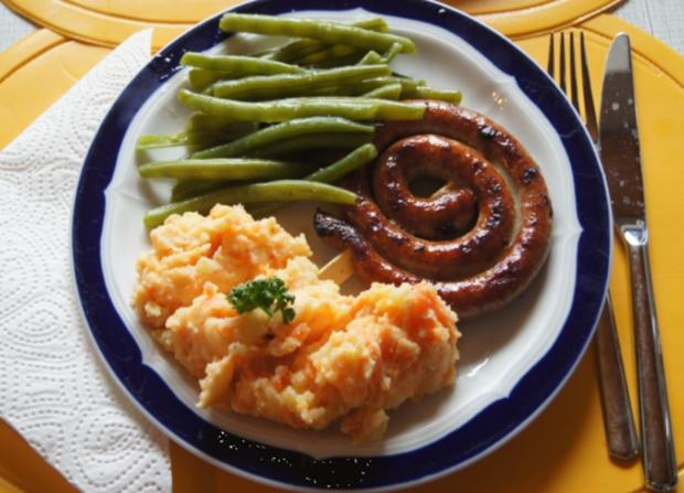 Bratwurstschnecke mit grünen Bohnen und Möhren-Kartoffelstampf - Rezept - Bild Nr. 54