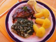 Lachsfilet mit Rahm-Spinat und Curry-Kartoffelpilzen - Rezept - Bild Nr. 52