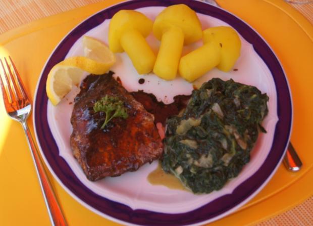 Lachsfilet mit Rahm-Spinat und Curry-Kartoffelpilzen - Rezept - Bild Nr. 65