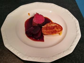 Chateaubriand mit Portweinzwiebeln und Polenta-Weißbrot-Sandwiches - Rezept - Bild Nr. 183