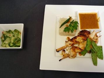 Homemade Red-Thai-Curry an Hähnchenspießen mit Jasminreis und Gurken-Chili-Salat - Rezept - Bild Nr. 183