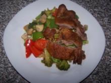 Knusperente auf gebratenem Gemüse - Rezept