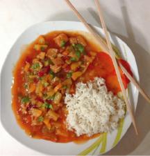 Hähnchen süß-sauer mit Reis - Rezept - Bild Nr. 421