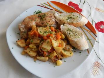 Hühnerkeulen mit Knoblauch,Zwiebel und Apfel - Rezept - Bild Nr. 521