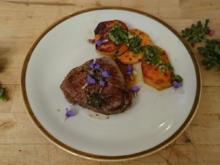 Zartes Rinderfilet an Süßkartoffeln mit Gremolata und frischem Bergpfeffer - Rezept - Bild Nr. 572