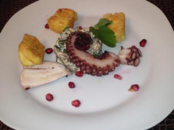Octopus an Auberginensalat mit ausgebackenem Schafskäse - Rezept - Bild Nr. 127