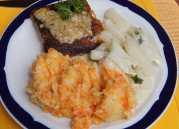 Schlemmerfilet Bordelaise mit Rahm-Kohlrabi und Möhren-Sellerie-Kartoffelstampf - Rezept - Bild Nr. 237