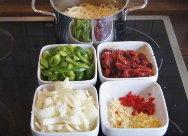 Chinesische Nudeln im Wok mit Rindfleisch. Paprika und Zwiebeln - Rezept - Bild Nr. 237