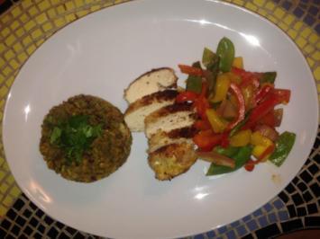 Kokospoularde mit Mandel-Linsen-Reis und süßem Gemüse - Rezept - Bild Nr. 260