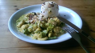 mildes, grünes Curry mit Banane, Apfel und Mandeln - Rezept - Bild Nr. 273