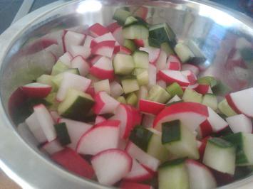 Salat mit Gurke, Lauchzwiebel und Radieschen - Rezept - Bild Nr. 282