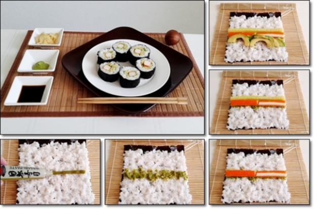 Sushi mit Surimi, Avocado und Gurke gefüllt - Rezept - Bild Nr. 1693