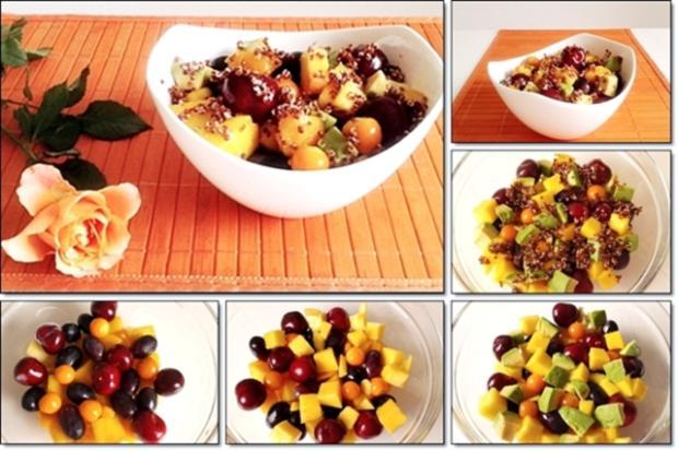 Ein sommerlicher Salat aus verschiedenen Obstsorten mit Quinoa - Rezept - Bild Nr. 1714