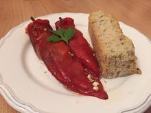 Paprika nach griechischer Art, dazu Fetakäse und selbstgemachtes Brot - Rezept - Bild Nr. 326