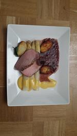 Rezept: Iberico – Schwein – Schalotte – Erdapfel – Spargel – Orange