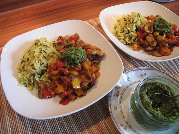 Wokgemüse mit Koriander-Ingwer-Pesto - Rezept - Bild Nr. 369