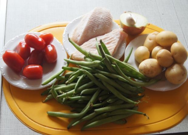 Hähnchenbrustfilet mit Curry-Tomaten-Bohnen Gemüse und angebratenen Rosmarin-Drillingen - Rezept - Bild Nr. 551
