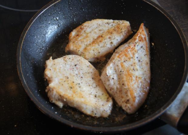 Hähnchenbrustfilet mit Curry-Tomaten-Bohnen Gemüse und angebratenen Rosmarin-Drillingen - Rezept - Bild Nr. 553
