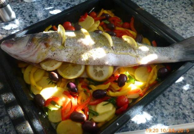 Wolfsbarsch aus dem Ofen - Rezept - Bild Nr. 573