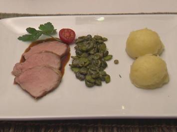 Schweinefilet mit Saubohnen und getrüffeltem Kartoffelstampf - Rezept - Bild Nr. 615