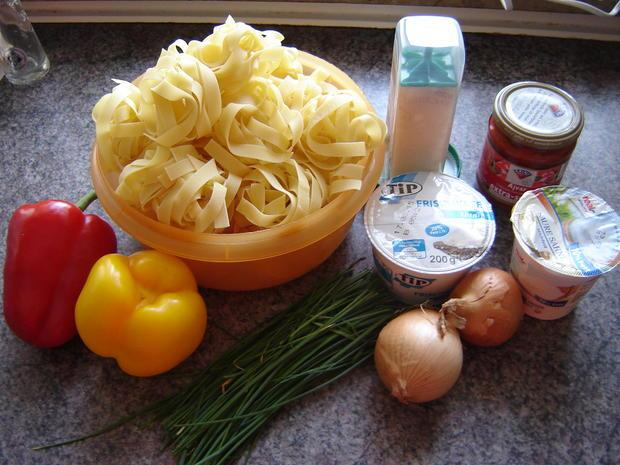 Tagliatelle an Paprika-Rahmsoße mit Hüttenkäse - Rezept - Bild Nr. 586