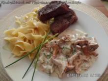 Rinderfilet mit Pfifferlingen in Schnittlauchsoße und Bandnudeln - Rezept - Bild Nr. 608