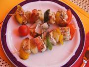 Putenbrustfilet-Paprika-Zwiebel Spieße mit Salatbeilage - Rezept - Bild Nr. 612