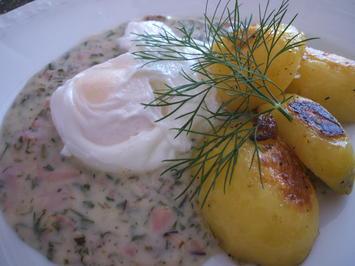 Eier: Verlorene Eier auf Kräutersoße mit Schwenkkartoffeln - Rezept - Bild Nr. 615