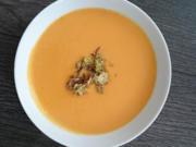 Süßkartoffel-Suppe mit Kokosmilch, getoppt mit einer Limetten-Koriander-Gremolata - Rezept - Bild Nr. 618