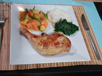 Rezept: Jerk-Chicken dazu Callaloo und Weißbrot
