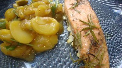 Rezept: Lachs in Zitronenöl mit Kartoffelsalat