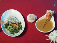 Seeteufel auf asiatischem Gemüse Kokoscurrysüppchen vom Butternusskürbis mit Gambas - Rezept - Bild Nr. 1018