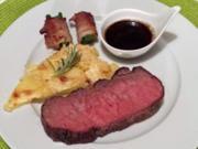 Roastbeef vom Rind auf Kartoffelgratin mit Speckbohnen - Rezept - Bild Nr. 1018