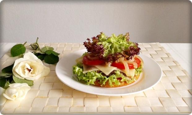 XXL Burger  mit Lollo Rosso Salat und....nach Art des Hauses - Rezept - Bild Nr. 993