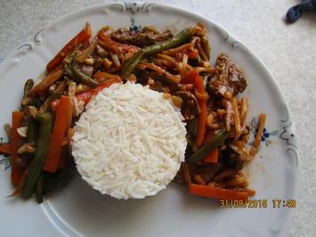 Rezept: Rindfleisch asiatische Art mit Basmatireis