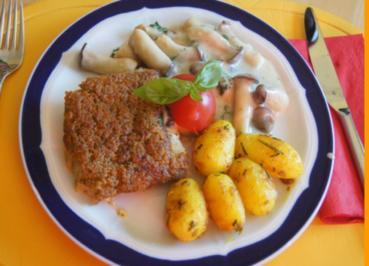 Rezept: Schlemmer-Filet mit Kräuter-Seitlingen und Rosmarin-Curry-Drillingen