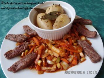 Rinderfilet mit scharfem Kohl und Gewürzkartoffeln - Rezept - Bild Nr. 1098