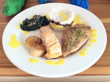 Dreierlei Fisch mit asiatisch gewürztem Blattspinat, buntem Reis und Safranschaum - Rezept - Bild Nr. 1215