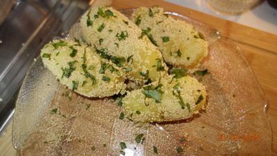 Rezept:   Beilage: Kartoffeln mit Cous cous-Kruste und Basilikum