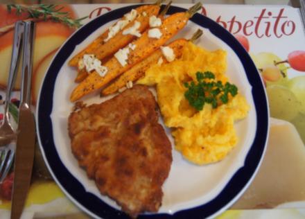 Kalbsschnitzel mit Karotten-Kartoffelstampf und Backofenkarotten - Rezept - Bild Nr. 1682