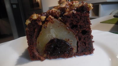 Rezept: Schoko-Kuchen mit versunkenen Birnen