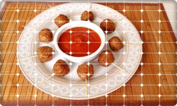 Mini Fleischbällchen am Spieß mit scharfer Tomatensauce - Rezept - Bild Nr. 2123