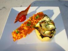 Zucchiniblümchen mit Grana Padano an Karotten-Ingwer Brunoise - Rezept - Bild Nr. 2171